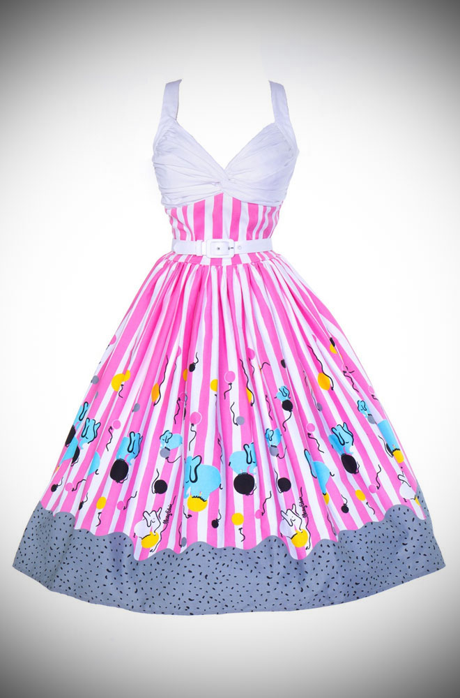 Mary Blair Circus Elephant Print Lydia Dress. A 50's style dress by Pinup Couture. Deadly is the Female are proud UK stockists of Pinup Girl Clothing House brands.