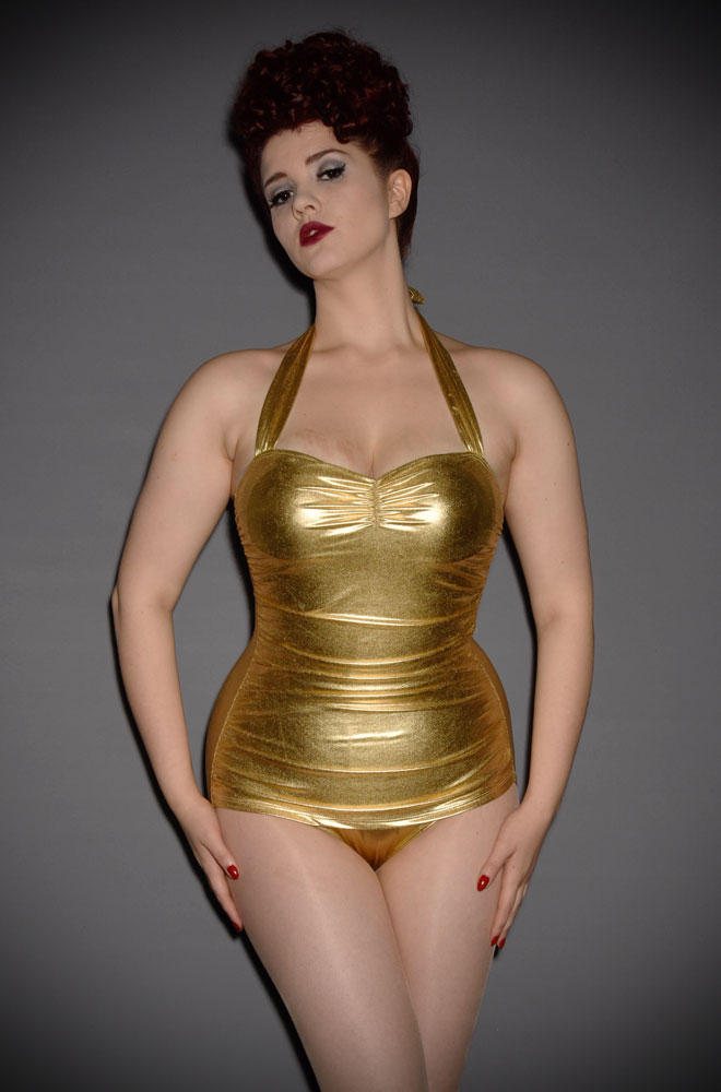 Knock 'em dead in this classic 50's gold swimsuit by Esther Williams at Deadly is the Female. Inspired by an Icon and super flattering.