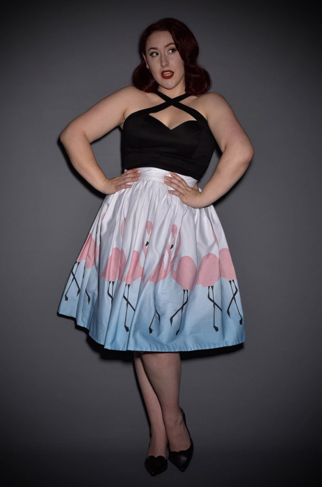 Get fresh and flirty this summer with the gorgeous new 50's Flamingo Skirt by Unique Vintage at Deadly is the Female