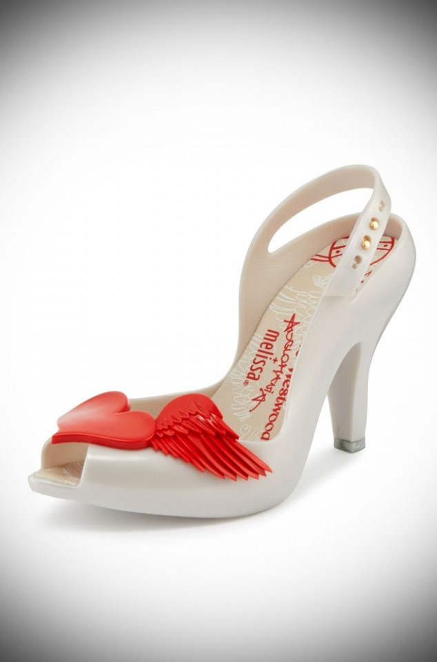 Melissa + Vivienne Westwood Lady Dragon Red Cherub Heels. Stunning Pearl & Red heels by the iconic Vivienne Westwood. Available now at Deadly is the Female.
