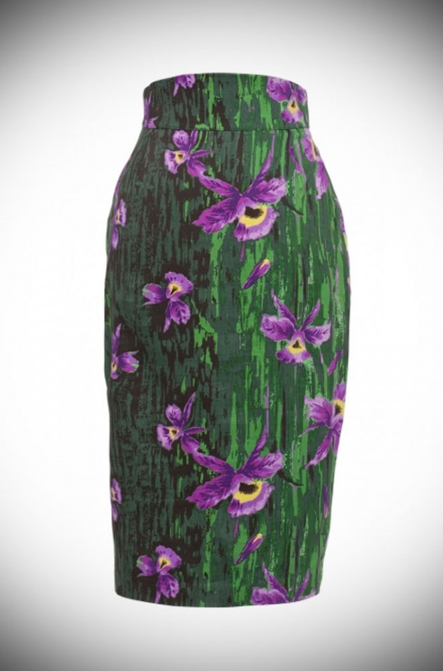 Laura Byrnes High Waisted Pencil Skirt in Purple Orchid Print UK stockist of Pinup Girl Clothing House Brands, Deadly is the Female.