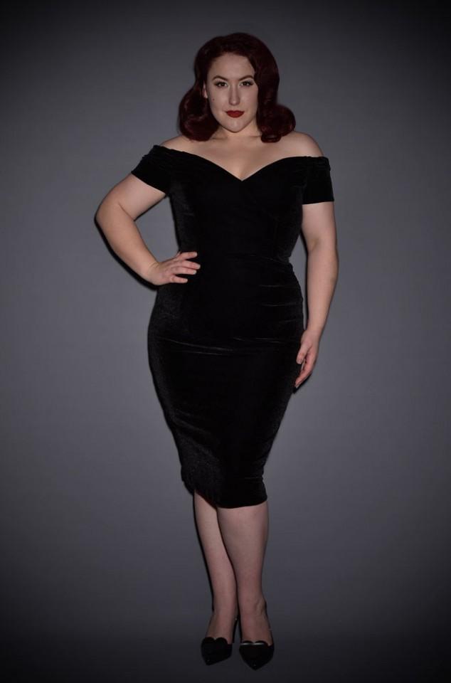Black Velvet Fatale dress - 1950's style inky black velvet Bardot off the shoulder Fatale wiggle dress by the Pretty Dress Company.