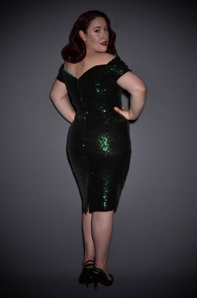 Green Sequin Fatale Dress - 1950's style stretch sequin Bardot off the shoulder Fatale wiggle dress by the Pretty Dress Company.