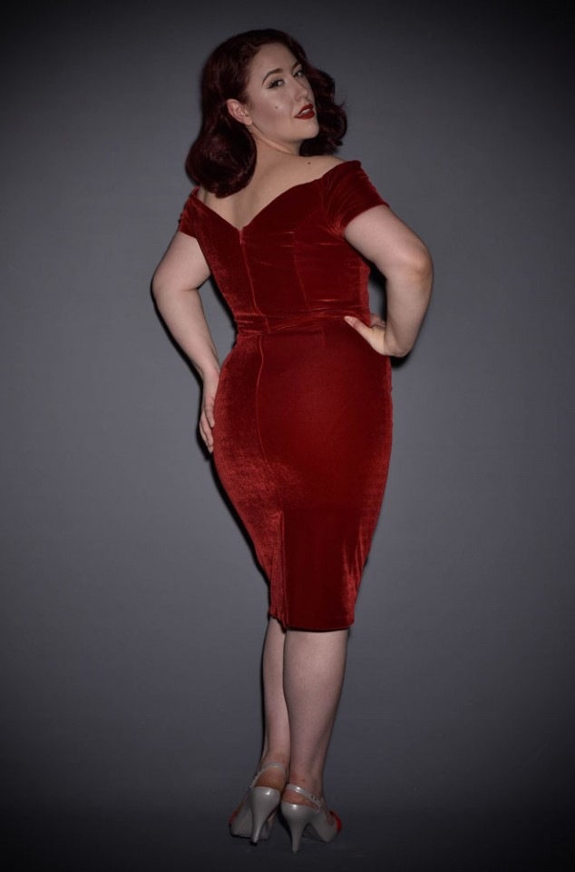 Red Velvet Fatale dress - 1950's style red velvet Bardot off the shoulder Fatale wiggle dress by the Pretty Dress Company.
