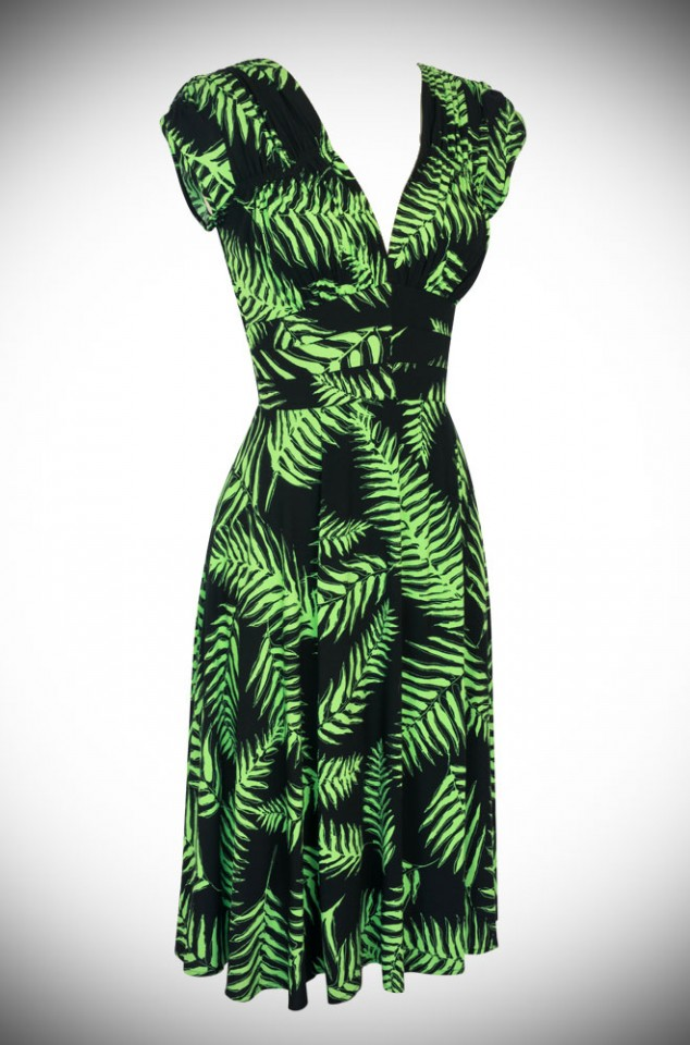 Trashy Diva Psychedelic Ferns 40's Dress at Official UK Stockists Deadly is the Female. This dress can be dressed up or down for instant vintage style.