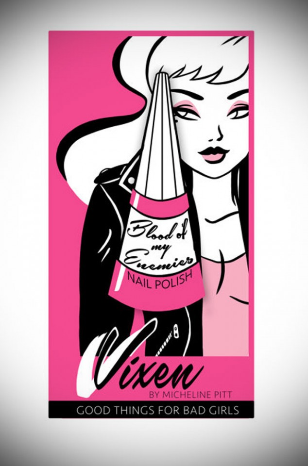 """Vixen by Micheline Pitt """"Blood of my Enemies"""" Nail Polish Lapel Pin in Pink has arrived at UK stockists, Deadly is the Female. Good things for bad girls."""