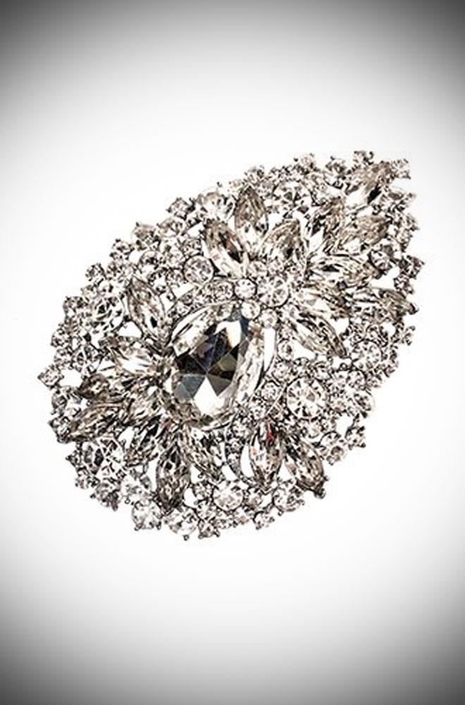 Art deco crystal hairclip and brooch