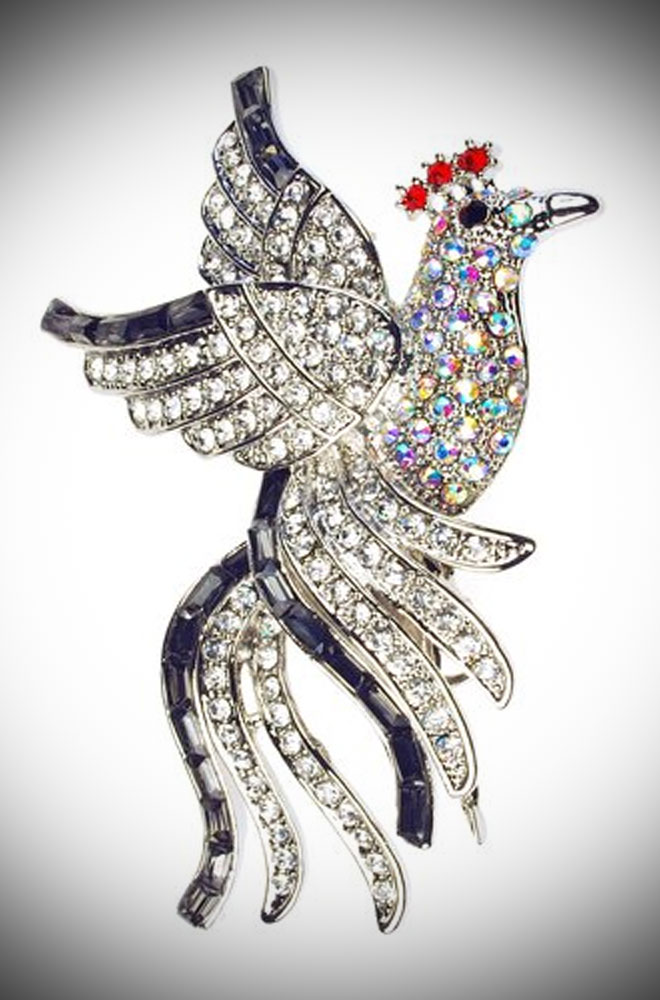Twilight Crystal Bird Hair Clip & Brooch