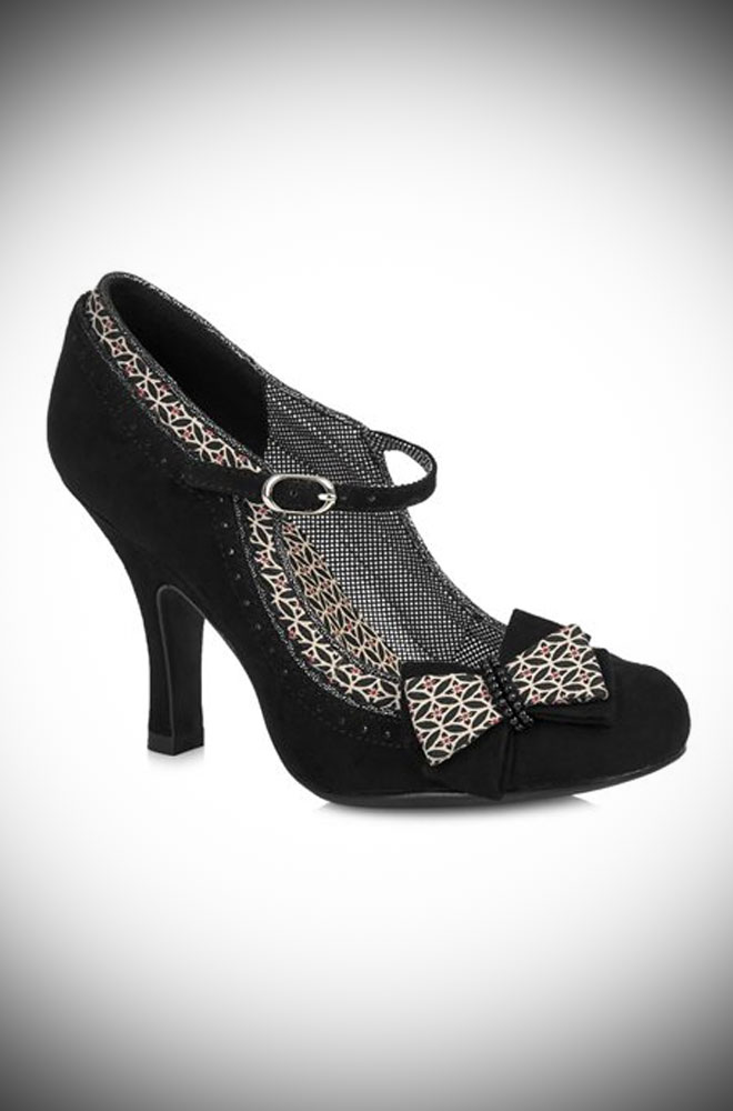 Georgia vintage style faux suede heels by Ruby Shoo. Medium height black faux suede shoes with ankle bar strap and fabulous bow details.