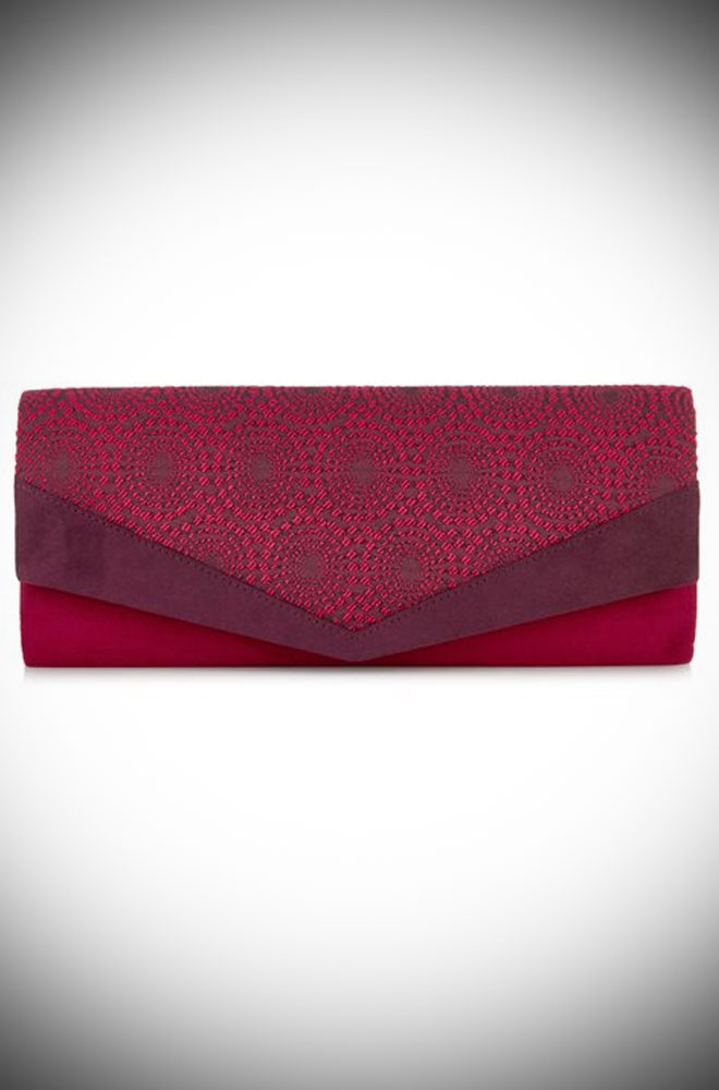The Prague Bag is a elegant red and burgundy clutch with striking jacquard trim by Ruby Shoo at Deadly is the Female.