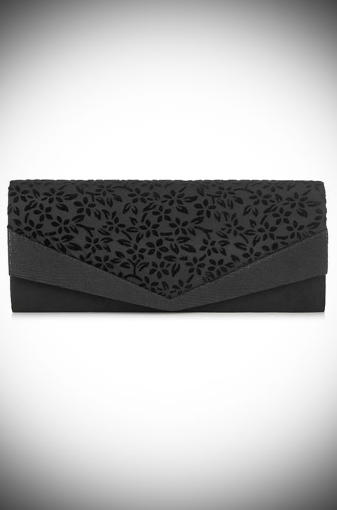 The Prague Bag is a elegant black clutch with striking devore trim by Ruby Shoo at Deadly is the Female.
