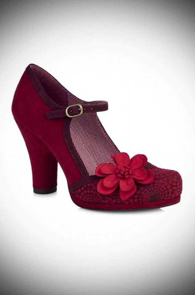 The Tanya shoes are striking red jacquard medium height closed court shoes by Ruby Shoo at Deadly is the Female.