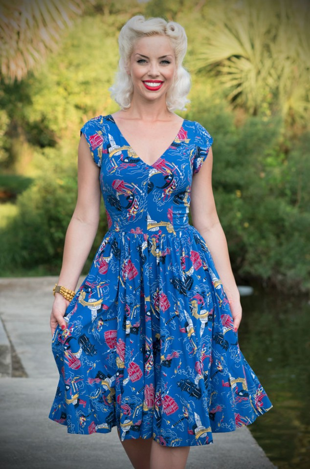 The Trashy Diva Gia dress is a vintage inspired swing dress in Venice Nights Print. Deadly is the Female are official UK stockists of Trashy Diva.