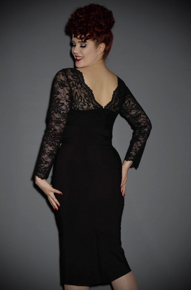 A timeless classic, the Bardot dress is a striking black wiggle dress with luxurious black lace details. å