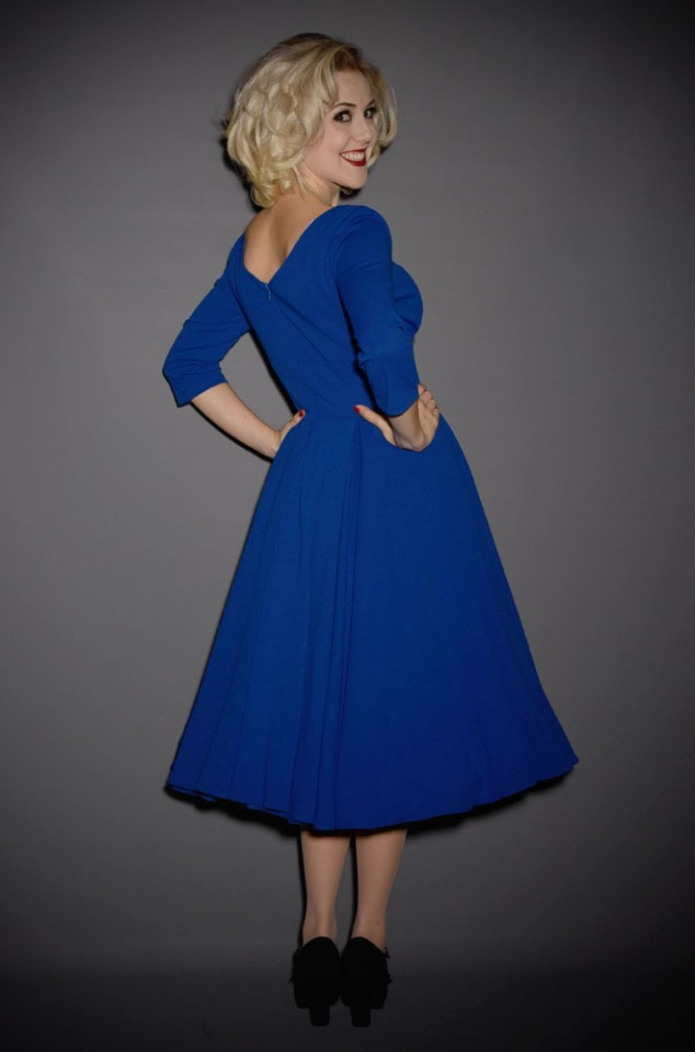 Cobalt Blue Ascot Dress with 3/4 length sleeves by The Pretty Dress Company - perfect for pinup girls and vintage lovers.