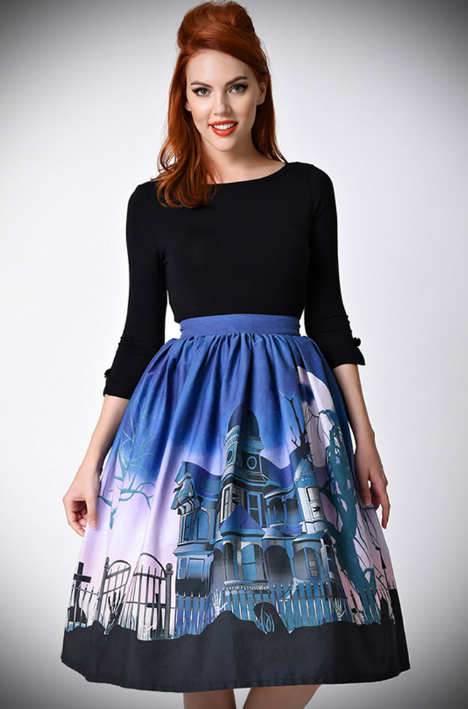 Blending spooky and chic, the Unique Vintage Limited Edition 50's Haunted Mansion Skirt has arrived, just in time for Halloween, at Deadly is the Female