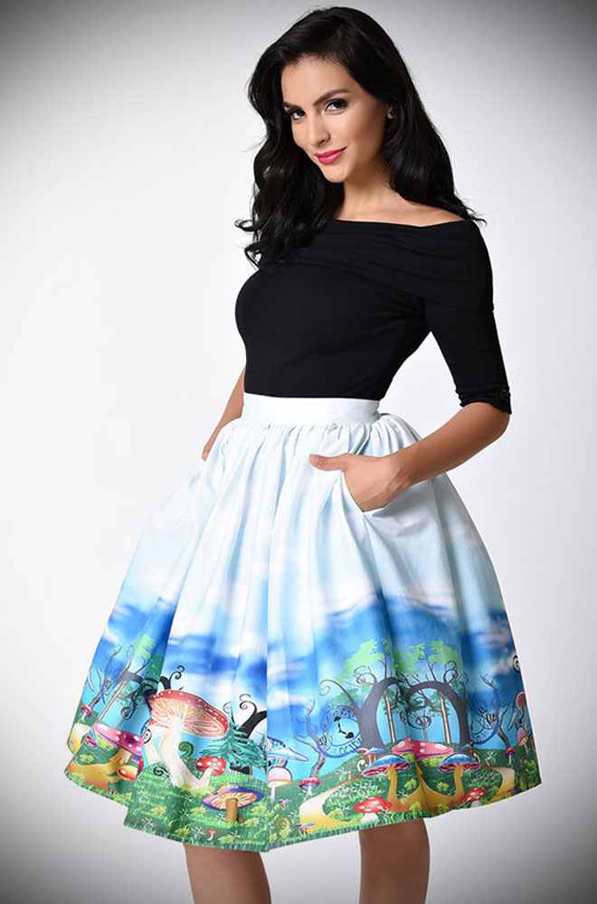 1950s style meets classic literature with this Alice in Wonderland skirt by Unique Vintage at Deadly is the Female
