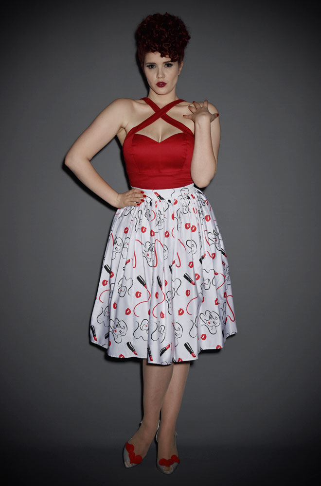 The Vixen Swing Skirt has arrived at Deadly! This full, vintage inspired skirt is both dramatic & classic. Official UK stockists of Vixen by Micheline Pitt.