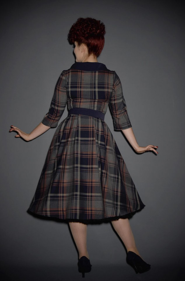 The Genevieve Dress is a vintage style tartan swing dress by Miss Candyfloss at UK stockists, Deadly is the Female. Librarian Chic at it's very best.