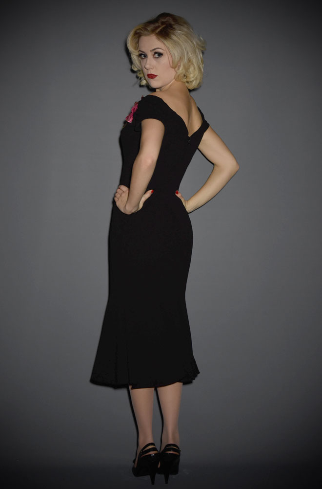 Fatale 1940's Black Flare Dress - a Bardot style, off the shoulder wiggle dress by the Pretty Dress Company at Deadly is the Female.