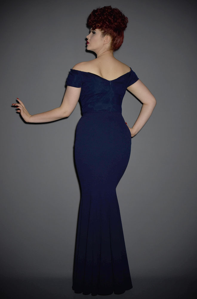 Fatale Embroidered Fishtail Gown - a 1950's Hollywood Glamour gown at Deadly is the Female by The Pretty Dress Company. Perfect for balls & parties.