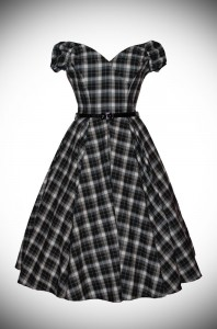Blending femme fatale with a 50's silhouette - introducing the Black and White Tartan Fatale Prom dress. Deadly is the Female are stockists of The Pretty Dress Company.