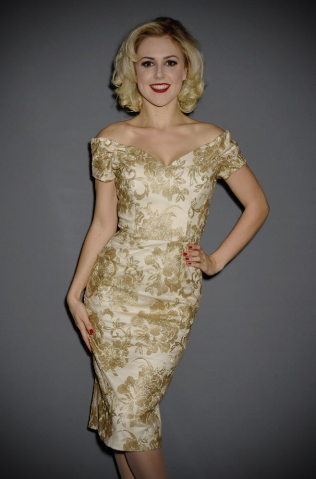 The Fatale Gold & Lace Pencil Dress is a gold lace wiggle dress by The Pretty Dress Company at Deadly is the Female. Vintage style at it's best.