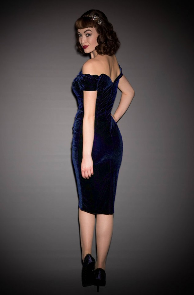 Midnight Velvet Fatale wiggle dress - 1950's style blue velvet Bardot off the shoulder Fatale wiggle dress by the Pretty Dress Company.