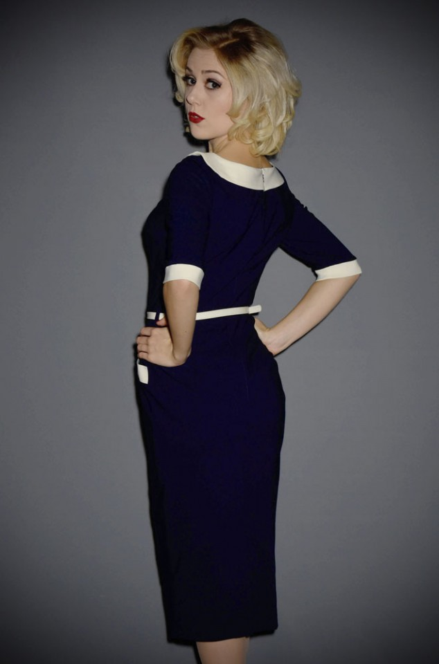 The Joelle Navy Pencil Dress is a 60s style wiggle dress by The Pretty Dress Company at Deadly is the Female. Vintage style at it's best.