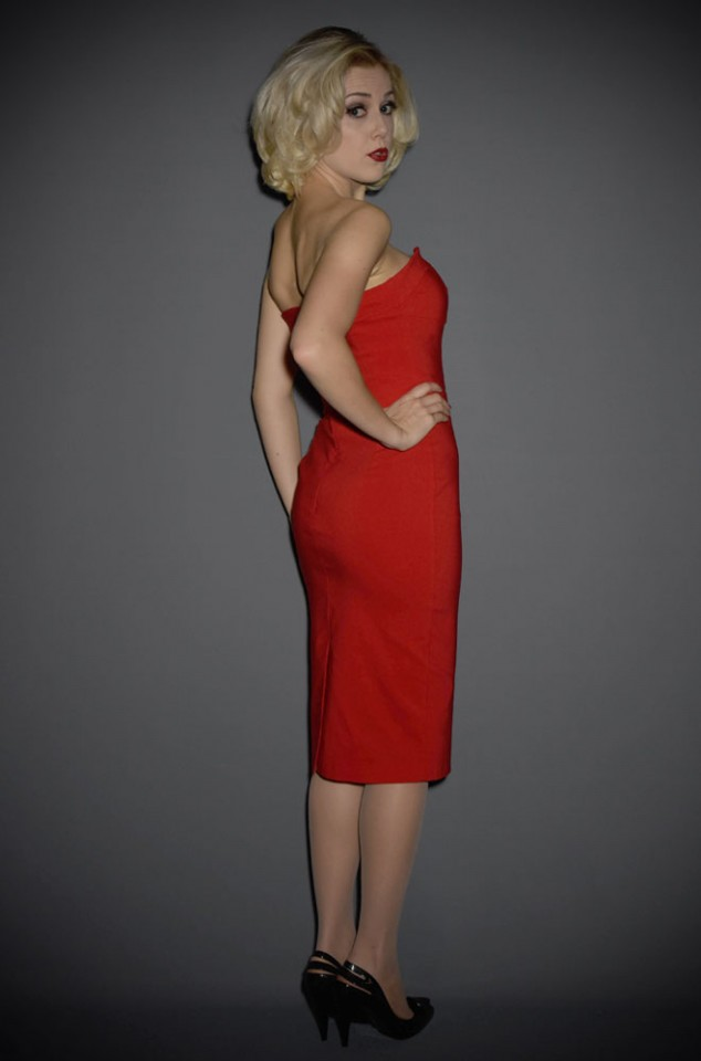 Palm Springs Dress in Red - a classic 50s inspired cocktail dress by the Pretty Dress Company at Deadly is the Female.