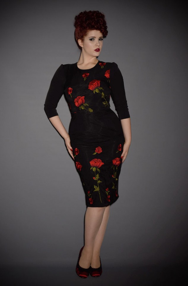 Suki is a Embroidered Rose Wiggle Dress by the Pretty Dress Company at Deadly is the Female. This classic dress is perfect for pin ups and fans of 50's fashion.