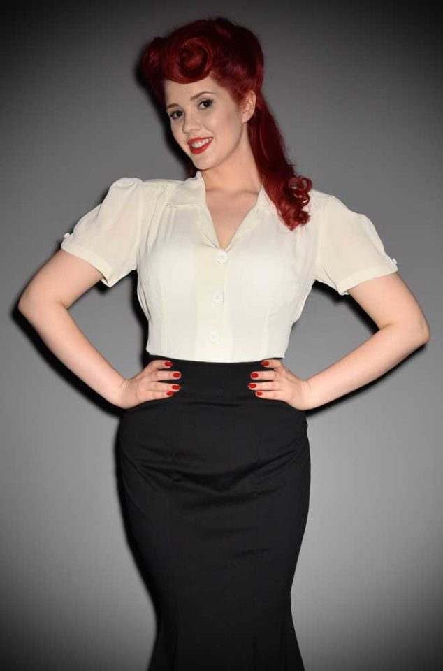 Grace is a 40's inspired blouse in cream at Deadly is the Female. Chic, casual and timeless fashion for pin up girls and vintage lovers.