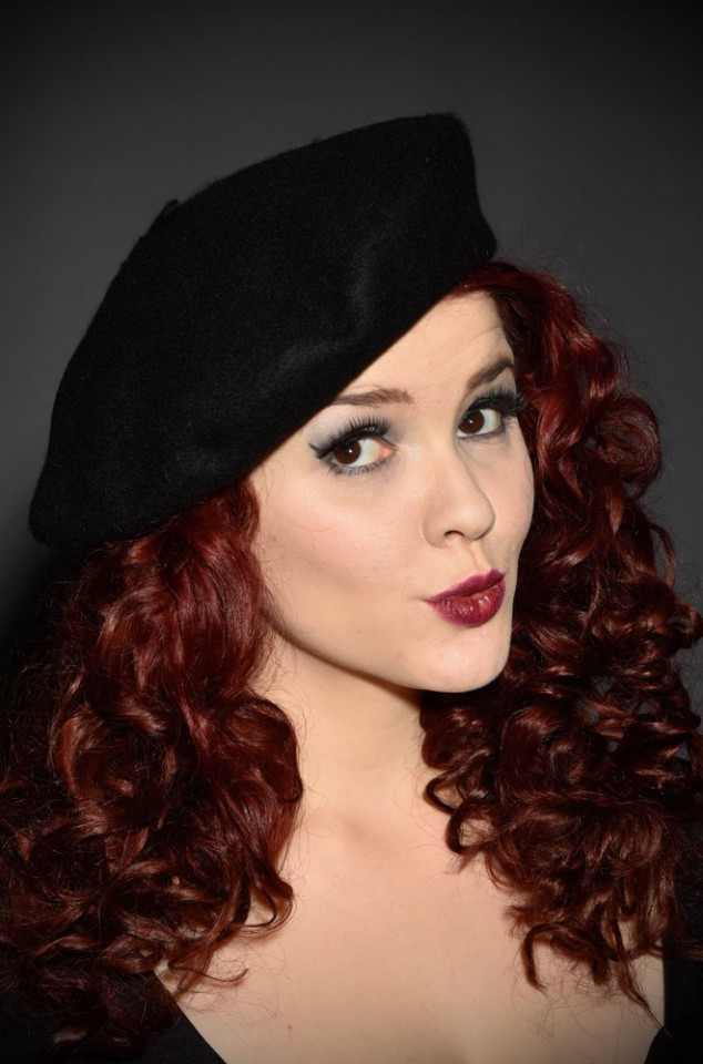 100% Wool Beret in Black - a perfect pinup accessory at Deadly is the Female