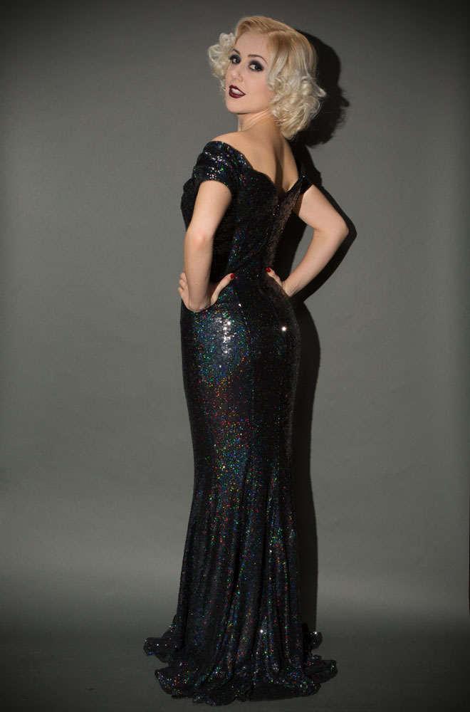 Black Sequin Fatale Gown is a 1950's Hollywood Glamour fishtail evening gown at Deadly is the Female by the Pretty Dress Company. Perfect for Balls, Weddings & Cocktail Parties