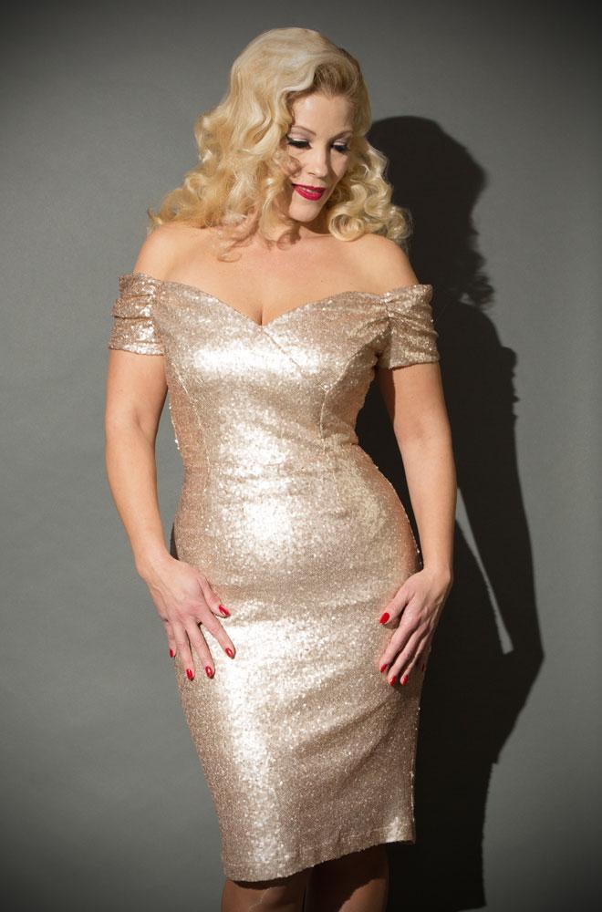 b77fbbd9e3d3 Gold Sequin Fatale Dress - 1950's style stretch sequin Bardot off the  shoulder Fatale wiggle dress