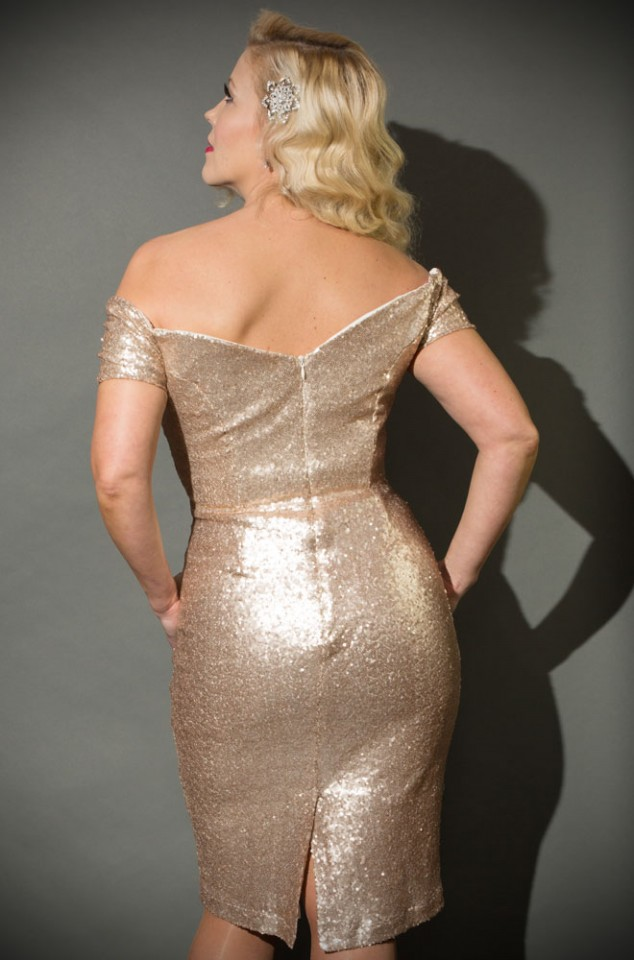 Gold Sequin Fatale Dress - 1950's style stretch sequin Bardot off the shoulder Fatale wiggle dress by the Pretty Dress Company.
