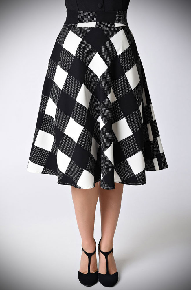 The 50's Vivien Checked Skirt has a fabulous mid-century silhouette. Deadly is the Female are proud UK stockists of Unique Vintage.