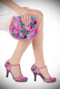 Add instant tropical glamour with the Ruby Shoo Poly Shoes in coral & turquoise floral print! Matching bag also available at DeadlyistheFemale.com