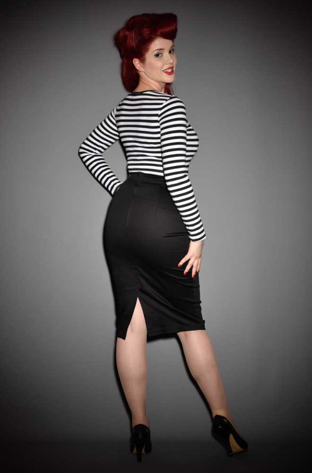 The Vixen Pencil Skirt in black has arrived at Deadly is the Female, official UK stockists of Vixen by Micheline Pitt. Good things for bad girls.