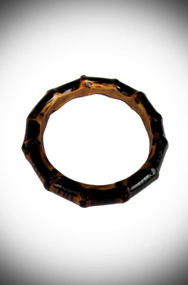 Super kitsch & tiki inspired, we adore this chunky, burnt bamboo bangle by Lady Luck's Boutique here at Deadly is the Female!