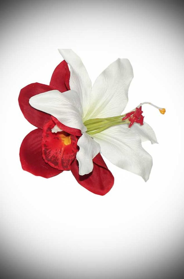 Add some instant glamour to your look with this Tropical Hair Flower. A tiki-tastic red orchid flower and white lily on a hair clip.