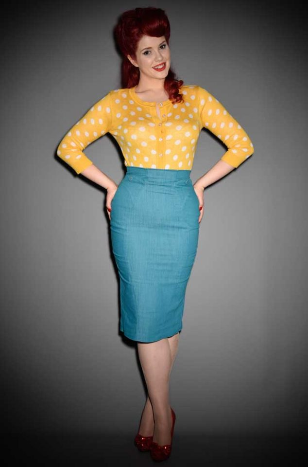 Blending Pinup style with modern day living, the Agnes Pencil Skirt in Turquoise Denim is a dream! Deadly is the Female are UK stockists of Miss Candyfloss.