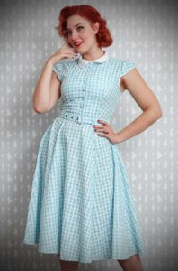 The Jeanette Dress is a pretty turquoise gingham swing dress by Miss Candyfloss at UK stockists, Deadly is the Female. Housewife Chic at it's very best.
