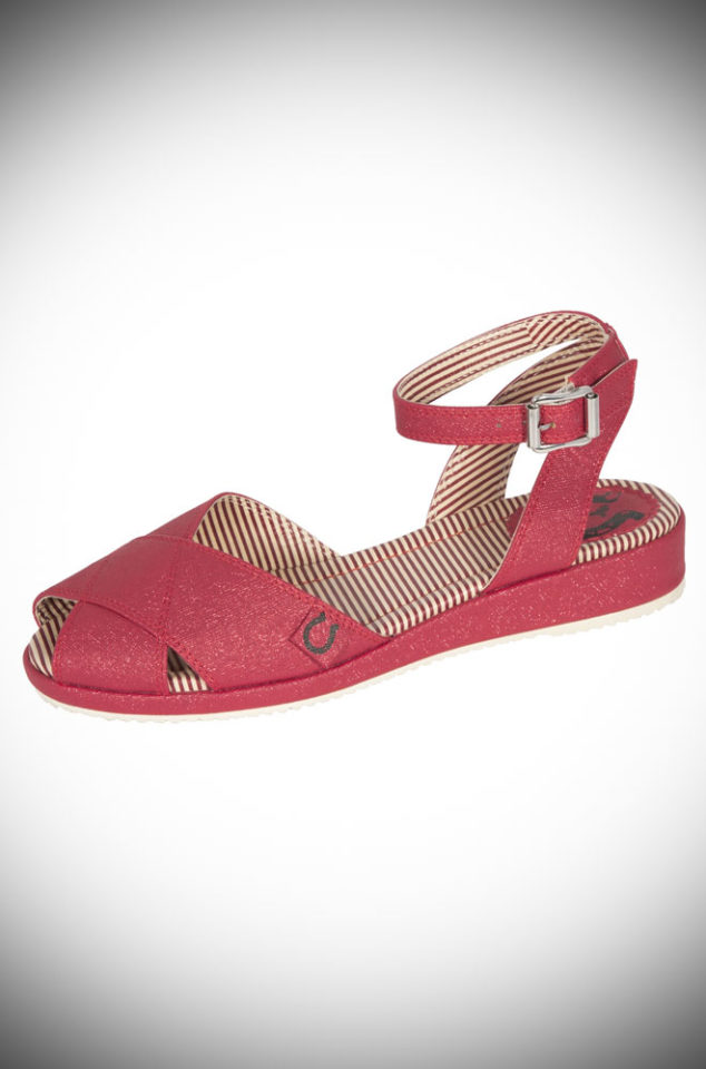 The Miss L Fire Harlow sandals are 1940s style mini-wedge sandals. This casual shoe has been given a fun and glamorous edge with the striking red sparkles.