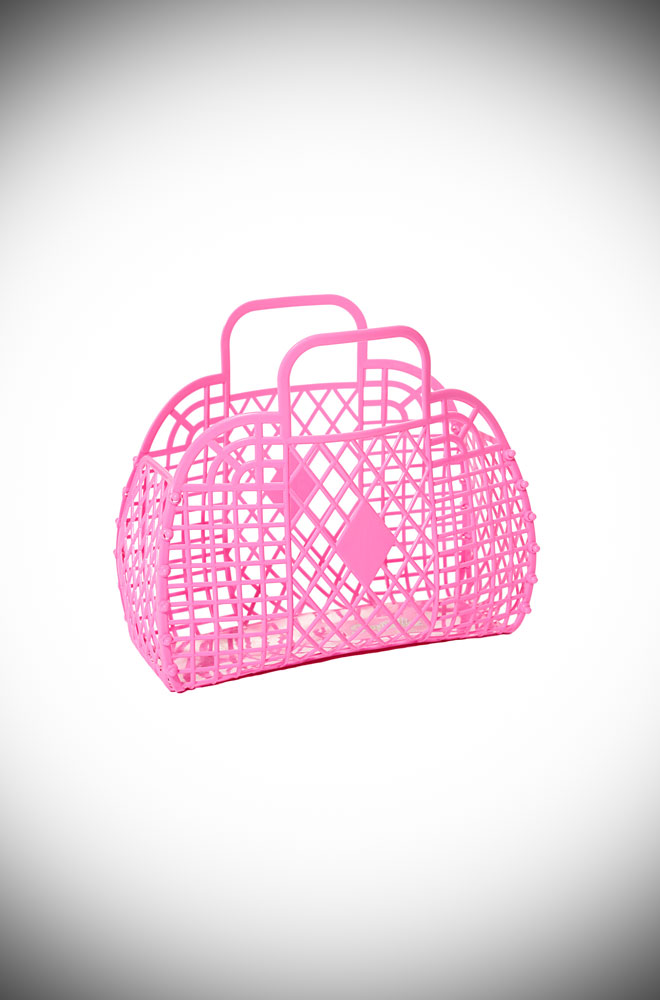 The Hot Pink Mini Retro Basket Bag is a mini 1960s style, lightweight basket that is an adorable alternative to a handbag in the summer!