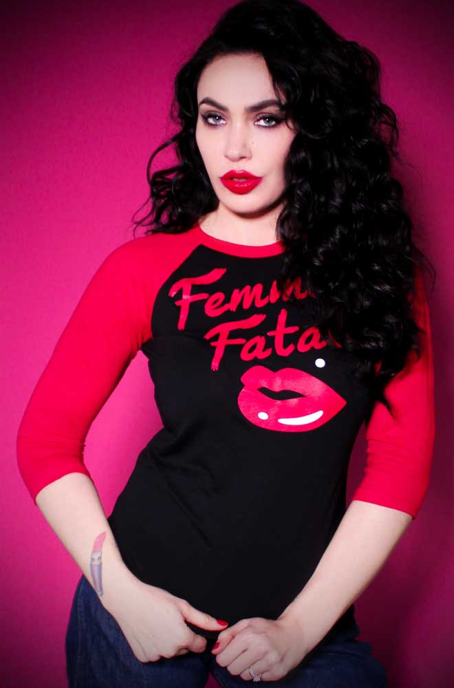 The Femme Fatale T Shirt has arrived at Deadly is the Female, official UK stockists of Vixen by Micheline Pitt. Good things for bad girls.