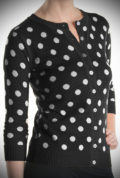 This Black Polka Dot Cardigan will instantly add extra warmth and retro charm to your look with this cute cardigan. Perfect for pinup girls & vintage gals.