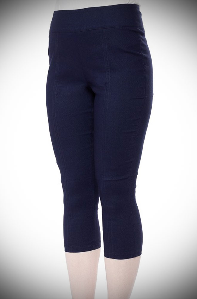 These retro Capri Pants are a faux denim with loads of stretch for a comfortable fit. Available now at DeadlyistheFemale.com