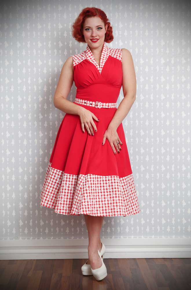 Ronnie 50's Dress in Red and Daisy Gingham by Miss Candyfloss at UK stockists, Deadly is the Female. Housewife Chic at it's very best.