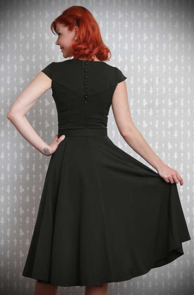 Yulia dress - a Black 50's swing dress by Miss Candyfloss at UK stockists, Deadly is the Female. Retro chic at it's very best.